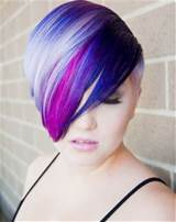 Short pixie haircut with highlights of multi-colored tones gives a ...