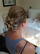 Updo with a braid, all up blonde hairstyle, for maid of honor hair