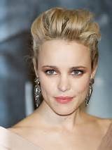 Rachel McAdams bouffant hair earrings