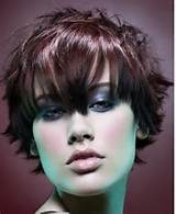 Texture women hairstyle with heavy cut side swept bangs photo