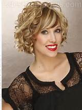 Big Fun Curly Bob with Highlights and Curls Sideswept Bangs