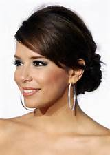 Low Updo Hairstyle with Side Swept Bangs