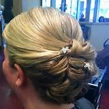 Side view of updo on the maid of honor