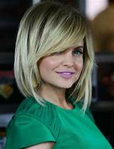 Layered Bob Hairstyle With Side Swept Bangs For Medium/Thick Hair